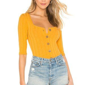 Free People Central Park Gold Strip Top M